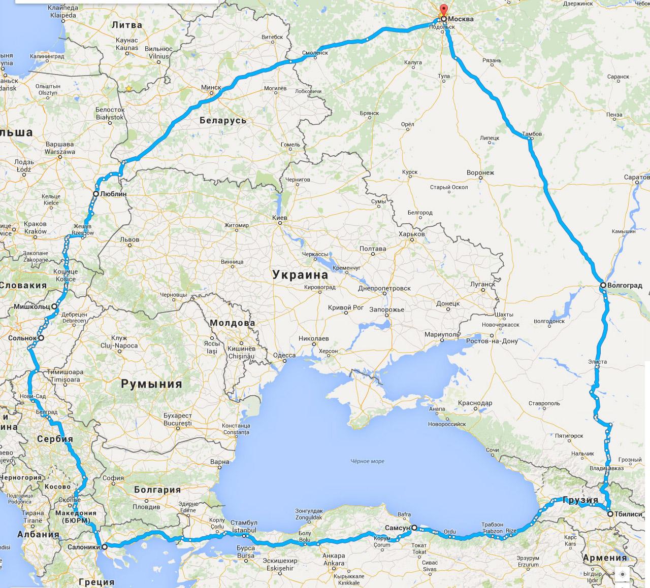 Карта путешествия Е.А.Шуваловой в 2015 году