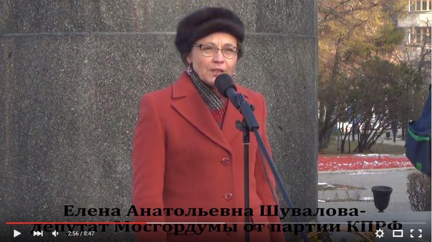 Митинг против реформы образования, выступление Е.А.Шуваловой. Октябрь 2014
