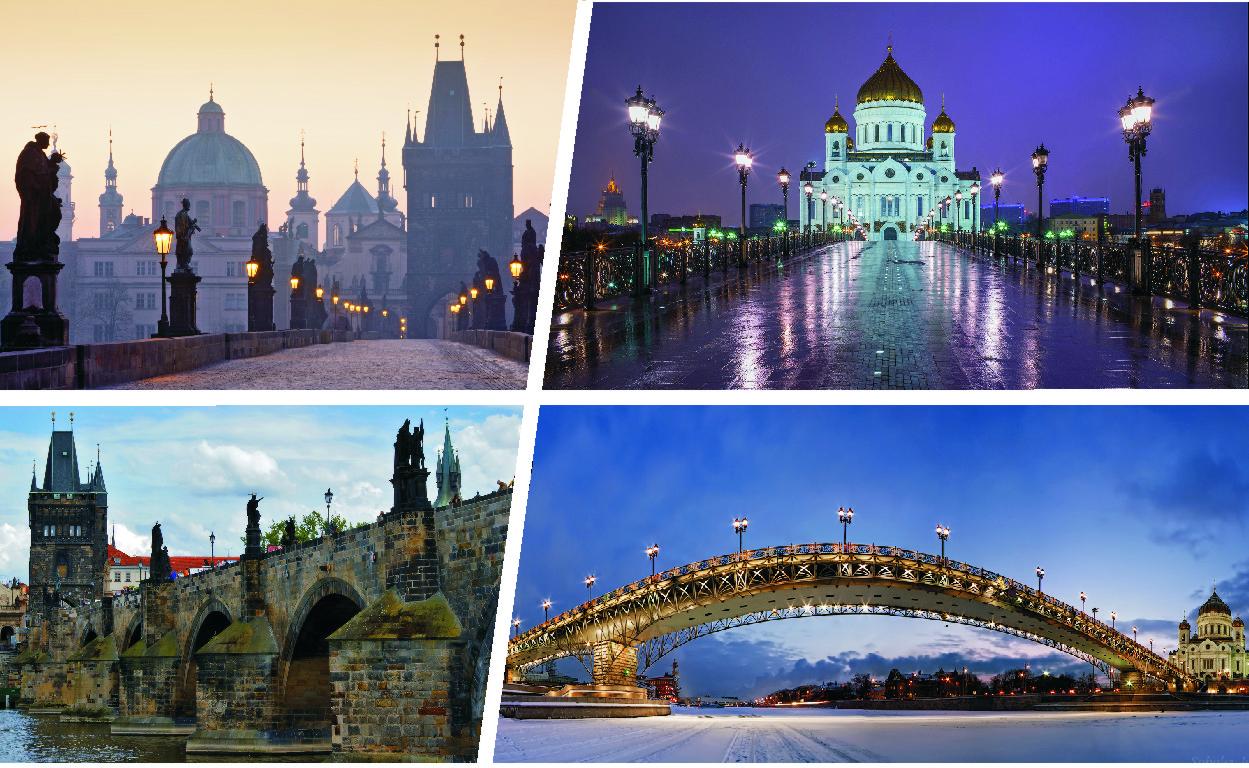 Патриарший мост в Москве и Карлов мост в Праге