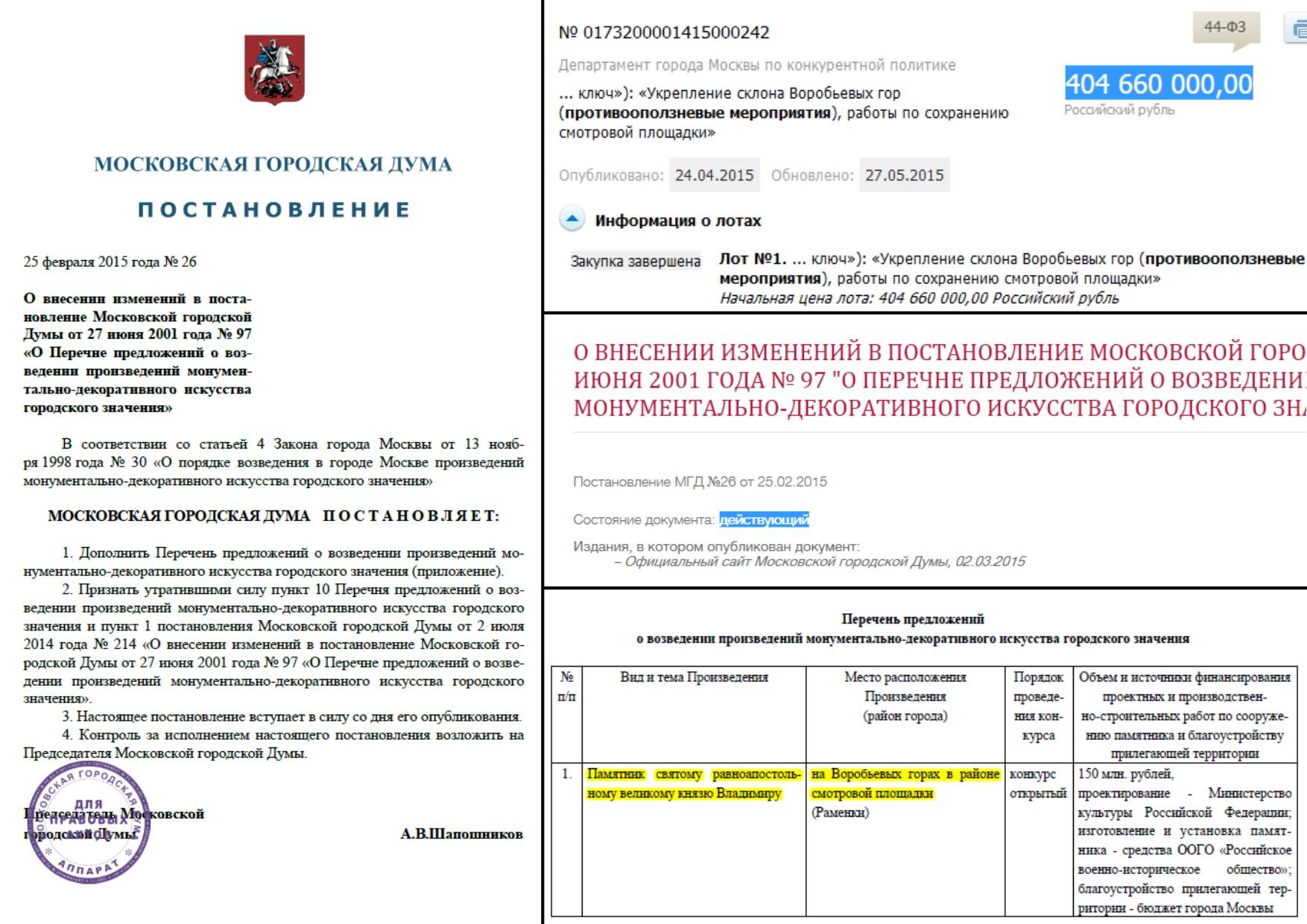 Постановление МГД по памятнику князю Владимиру