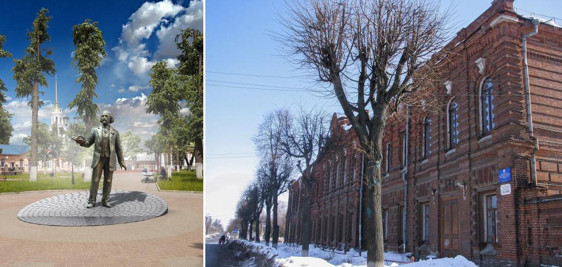 Школа и скульптура Бальмонта в Шуе