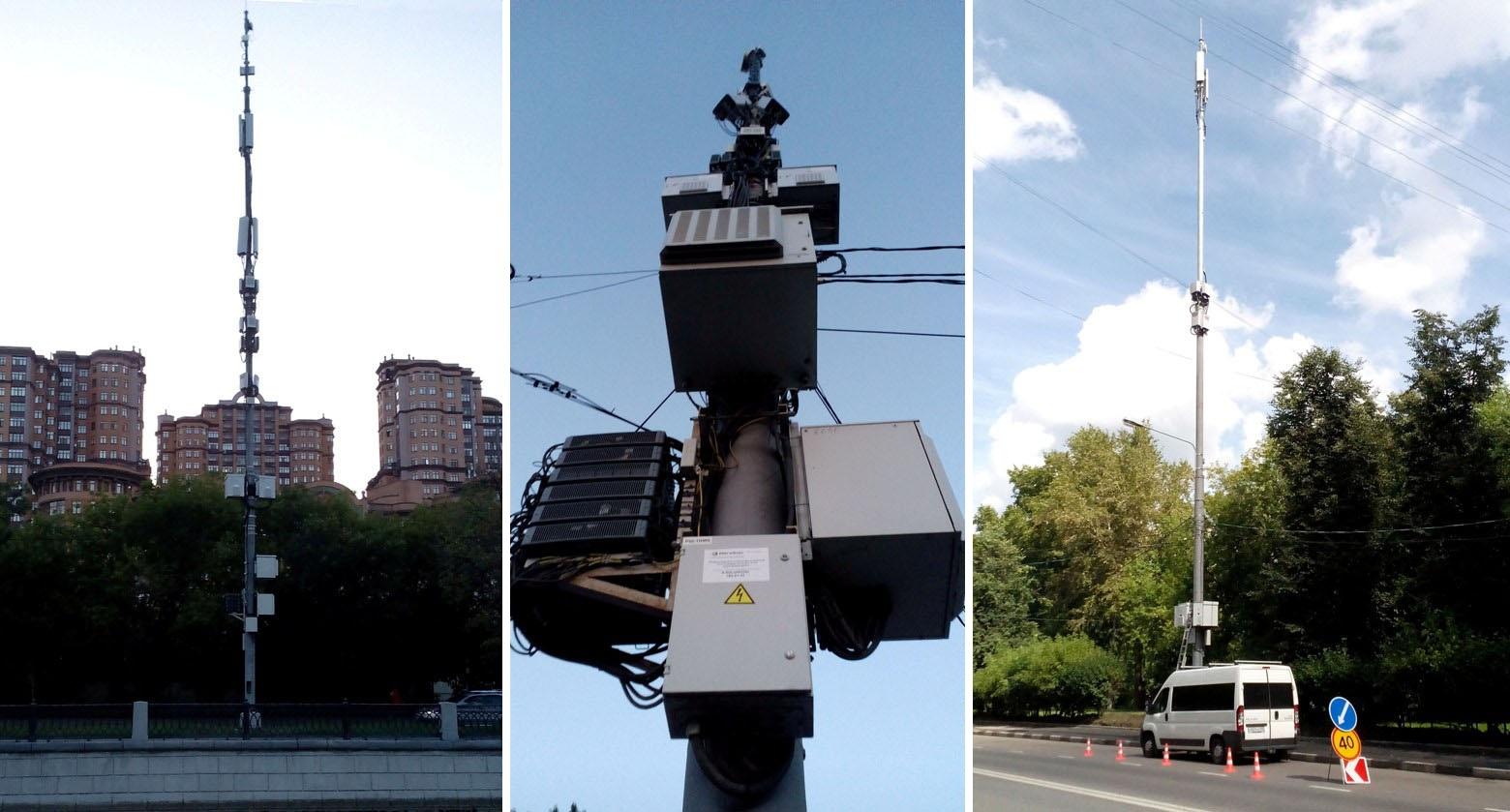 Мачты с оборудованием на улицах Москвы